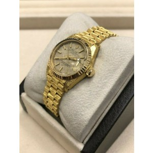 Rolex Ladies President Datejust 6917 Champagne Dial 18K Yellow Gold Florentine