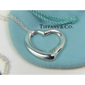 "Tiffany & Co HUGE Elsa Peretti 35mm Silver Open Heart on 30"" Chain"