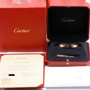 Cartier LOVE Bangle Bracelet 18k Rose Pink Gold New Style Box Receipt Size 16