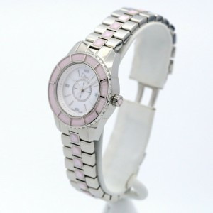 Womens Christian Dior Stainless Steel Watch w/ Mother of Pearl Dial & Pink Bezel