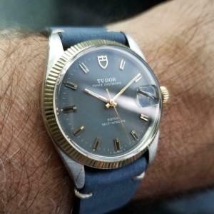 TUDOR Men's 14k Gold & SS Prince Oysterdate ref.7990 Automatic c.1960s LV830BLU