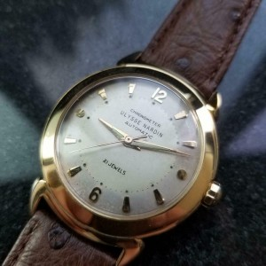 Men's Vintage Ulysse Nardin 18k Gold Automatic Dress Watch 35mm c.1960s LV654BRN