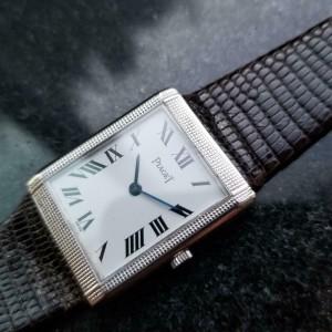 Men's Piaget 18k White Gold Midsize Hand-Wind Dress Watch c.1970s Swiss LV624BRN