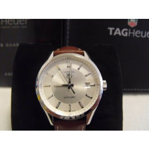 TAG HEUER CARRERA WV211A.FC6203 BROWN LEATHER AUTO SILVER MENS LUXURY WATCH
