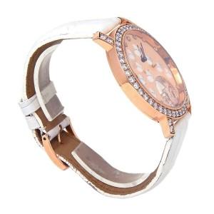 Chopard Happy Sport 18k Rose Gold Leather Diamonds Rose Ladies Watch 207450-5008