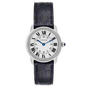 Cartier Ronde Solo Black Strap Steel Ladies Watch W6700155