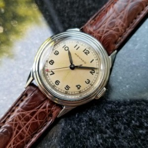 Movado Original 30mm Vintage 1950s Mid Sized Stainless Swiss Watch on Croc LV251