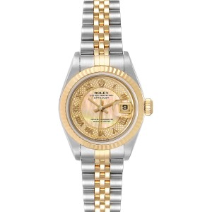 Rolex Datejust Decorated MOP Dial Steel Yellow Gold Ladies Watch 79173