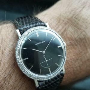 Midsize Longines 18k White Gold ref.167-B Diamond Dress Watch 32mm 1960s LV65BRN