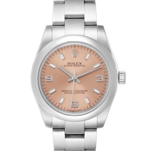 Rolex Midsize 31 Salmon Dial Domed Bezel Steel Ladies Watch 177200