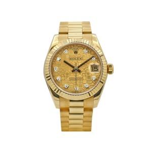 Rolex Ladies Datejust 31, 18K Yellow Gold, Champagne Jubilee Diamond dial, 17827