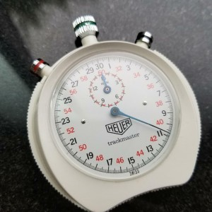 Heuer Trackmaster 66mm 1/10 Second Timer Vintage Stopwatch, c.1970s Swiss LV533