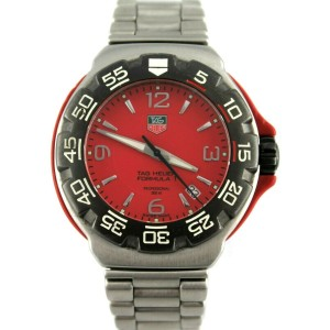 TAG HEUER FORMULA 1 RED WAC1113.BA0850 STEEL SWISS QUARTZ MENS SPORT DATE WATCH