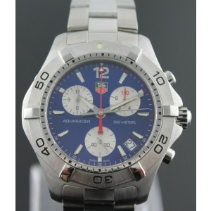 ORIGINAL TAG HEUER CAF1112.BA0803 AQUARACER QUARTZ CHRONOGRAPH MENS BLUE WATCH