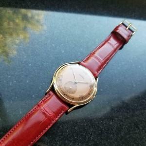 Mens Vulcain 36mm 18k Rose Gold Manual Wind Dress Watch, c.1960s LV856