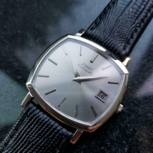 Mens Piaget 33mm 18k White Gold Date Automatic Dress Watch, c.1970s Swiss LV866