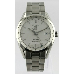TAG HEUER CARRERA WV2116.BA0787AUTOMATIC GMT SILVER MENS LUXURY STEEL WATCH