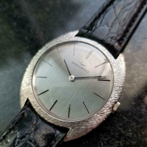 Mens Movado 35mm 18k White Gold Hand-Wind Dress Watch, c.1960s Vintage MA144
