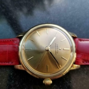 Mens Zenith 35mm 18k Gold Bumper Automatic, c.1960s Swiss Vintage LV851RED