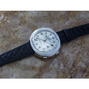 Mens Superalfa 45mm Hand-Wind Alarm w/Date, c.1970s Swiss Vintage MX151