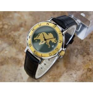 Mens Hunting World 36mm Gold Plated Quartz Dress Watch w/Date, c.2000s Swiss V24