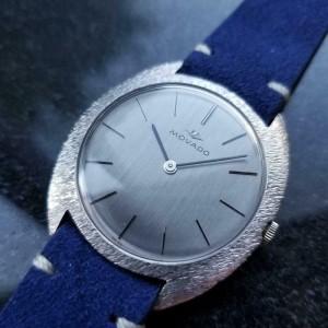 Mens Movado 35mm 18k White Gold Hand-Wind Dress Watch c.1960s Swiss MA144BLU