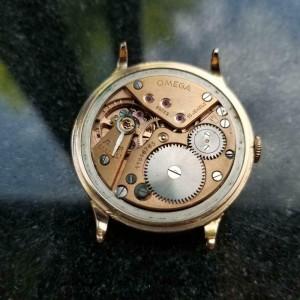 Mens Omega 37mm 18K Rose Gold Hand-Wind, c.1940s Swiss Vintage MS177GRN