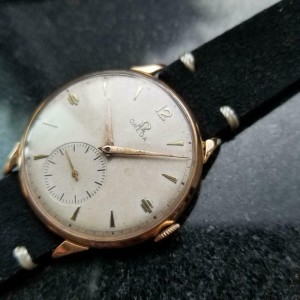 Mens Omega 37mm 18k Rose Gold Hand-Wind Dress Watch, c.1940s Vintage MS177BLK