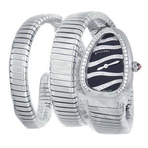 Bvlgari Serpenti Tubogas Stainless Steel Diamonds Black Ladies Watch 102441