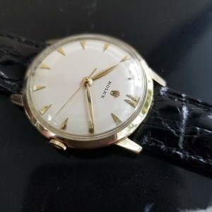 Mens Rolex 33mm 14k Solid Gold Hand-wind Dress Watch, c.1950s Vintage MA182