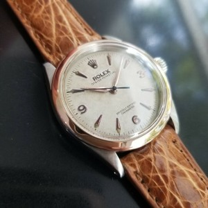 Mens Rolex Oyster Perpetual 6285 34mm 18k Rose Gold & SS Automatic c.1950s MA188