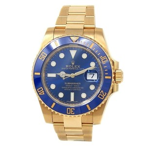Rolex Submariner 18k Yellow Gold Oyster Automatic Blue Men's Watch 116618