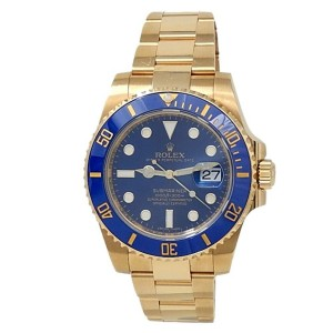 Rolex Submariner 18k Yellow Gold Oyster Automatic Blue Men's Watch 116618LB