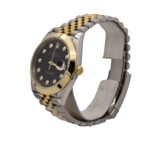 Men's Rolex Datejust 41, 18k Yellow Gold, Steel, Black Diamond Dial, 126303