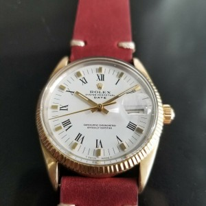 Mens Rolex Oyster Date 1550 34mm Gold-Capped Automatic, c.1970s Vintage RA137RED