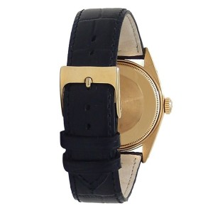Rolex Oyster Perpetual Date 18k Yellow Gold Leather Auto White Men's Watch 1505