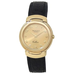 Rolex Cellini 18k Yellow Gold Black Leather Quartz Champagne Ladies Watch 6622
