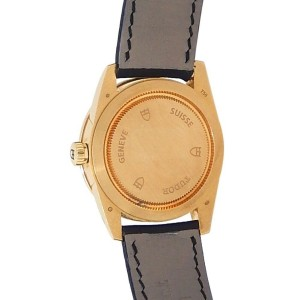 Tudor Glamour Date 18k Yellow Gold Black Leather Automatic Champagne Men's Watch