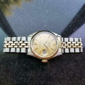 Mens Rolex Oyster Date Ref.1500 35mm 14k & SS Automatic, c.1970s Vintage MS106