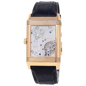 Jaeger-LeCoultre Grande Reverso 18k Rose Gold Leather Silver Men Watch 273.2.04
