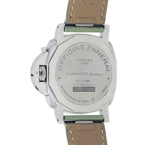 Panerai Luminor Stainless Steel Green Leather Automatic Grey Mens Watch PAM00755
