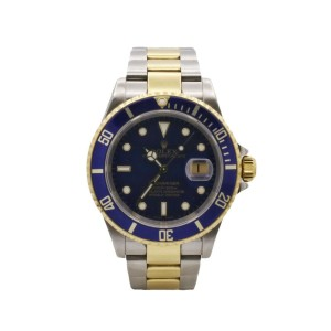 Mens' Rolex Submariner 40, 18k Yellow Gold, Stainless Steel, Blue Dial, 16613