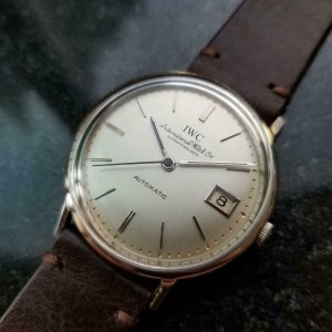 Mens IWC 34mm 18k Solid White Gold 1960s Date Automatic cal.8541 Vintage LV956