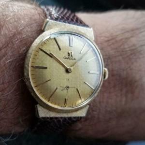 Mens Omega 34mm 14k Solid Gold Manual Dress Watch 1950s Vintage Swiss LV946