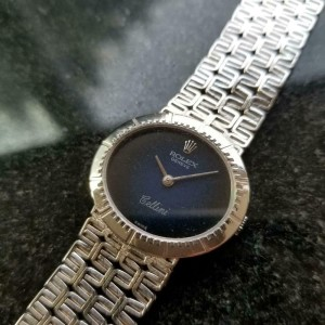 Ladies Rolex Cellini Geneve 1970s 26mm 18k Solid White Gold Manual Wind LV950