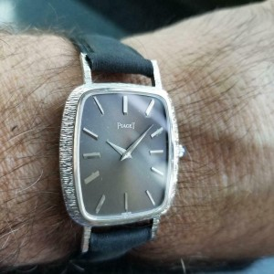 Mens Piaget 29mm Solid 18k Solid White Gold 1970s Manual Wind Swiss Watch