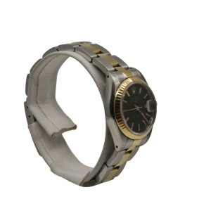 Rolex Ladies Datejust 26mm, Steel, and 18k Yellow Gold, Black stick dial. 69173