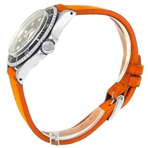 Rolex Submariner Stainless Steel Orange Suede Automatic Black Men's Watch