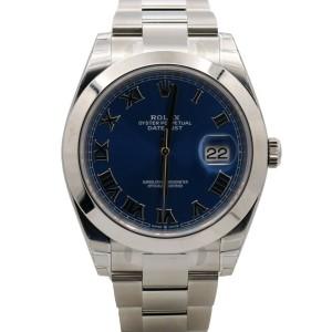 Men's Rolex Datejust 41, Stainless Steel, Blue Roman Dial, 126300-0017