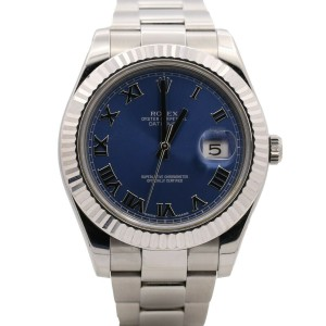 Men's Rolex Datejust II 41mm, Stainless Steel 18k white gold, Blue Dial, 116334